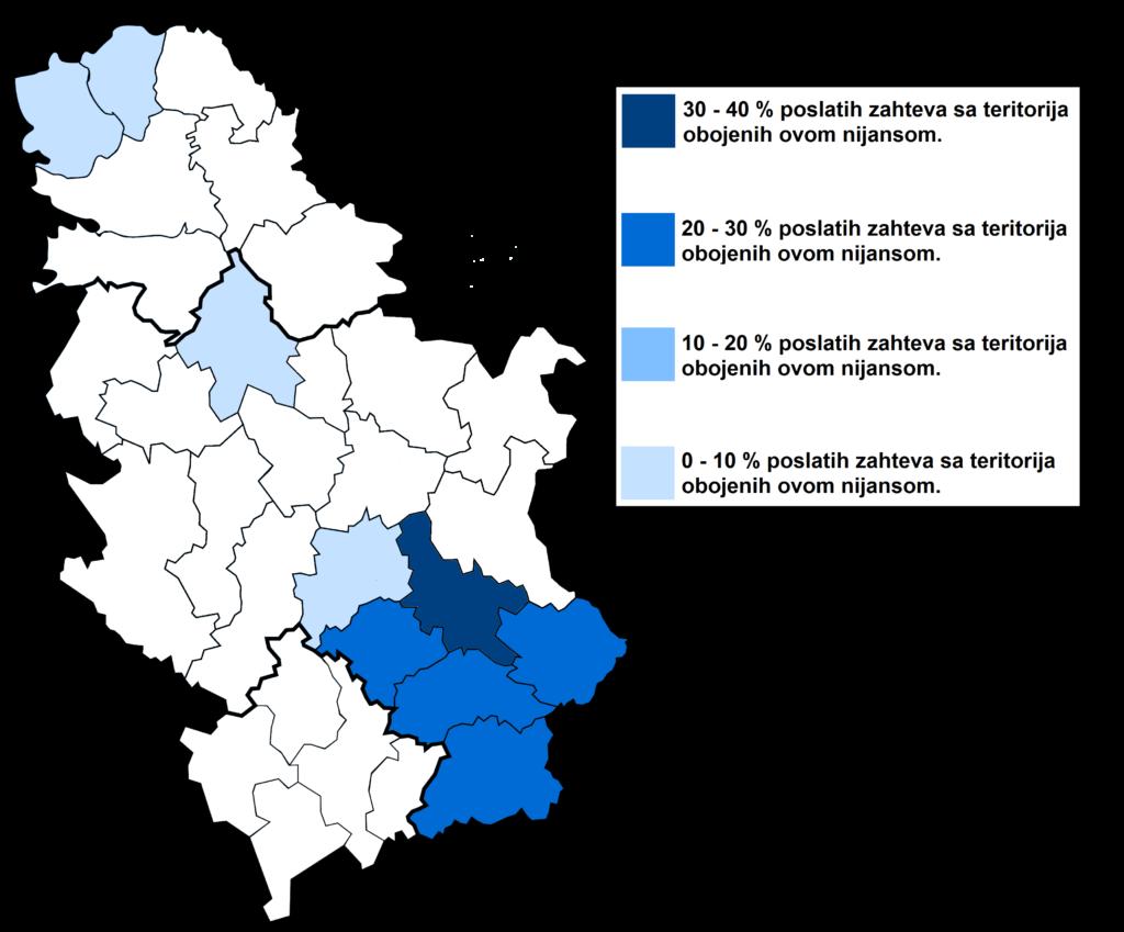 Mapa Srbije - delovanje po upravnim okruzima - Informacija na dlanu - PraviLaw